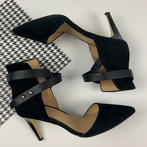 Joe's Jeans Black Suede Sexy Cuff Strappy Heel 6